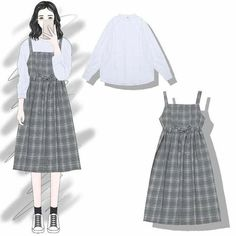 Adore these spring korean fashion. Korean Girl Fashion, Ulzzang Fashion, Korea Fashion, Asian Fashion, Hijab Fashion, Teen Fashion, Fashion Drawing Dresses, Fashion Dresses, Mode Ulzzang