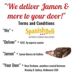 Jamon and more, to your door. *We really do deliver entire legs and shoulders of chilled, vacuum-sealed, spanish jamon iberico de bellota between Mackay and Melbourne. Spanish Tapas, Spanish Food, Melbourne Cbd, Deli, Foodies, Vacuums, Acorn, Vacuum Cleaners