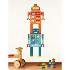 petit collage robot wall decal fabric growth chart