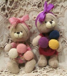 Thread Crochet Teddy Bear Clown PATTERN (word doc) by Bunny Rabbit N Monkey Artist