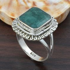 EMERALD 925 SOLID STERLING SILVER FASHION RING 5.55g DJR5717 #Handmade #Ring