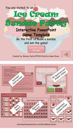 Ice Cream Sundae Party Interactive PowerPoint Game Template for All Subjects Powerpoint Game Templates, Microsoft Powerpoint, Motivational Activities, Sundae Party, Teaching Tips, Teaching Math, Math Challenge, Behavior Plans, Kindergarten Reading