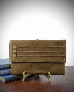 Vintage Brown Suede Clutch by Jane Shilton  New by LoAndCoVintage