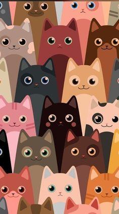 Wallpaper Gatos, Cat Phone Wallpaper, Wallpaper Backgrounds, Cat Pattern Wallpaper, Drawing Wallpaper, Iphone Backgrounds, Kawaii Wallpaper, Animal Wallpaper, Mobile Wallpaper
