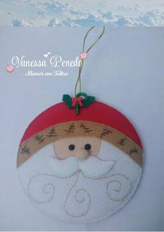 Felt Ornaments Patterns, Santa Ornaments, Diy Christmas Ornaments, Felt Christmas, Diy Christmas Gifts, Christmas Projects, Handmade Christmas, Christmas Decorations For Kids, Christmas Themes
