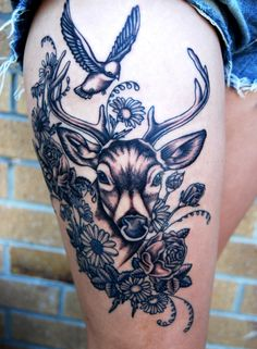 What does deer tattoo mean? We have deer tattoo ideas, designs, symbolism and we explain the meaning behind the tattoo. Hirsch Tattoos, Hirsch Tattoo Frau, Piercings, Piercing Tattoo, Tattoos For Women On Thigh, Girl Thigh Tattoos, Tattoo Thigh, Neue Tattoos, Body Art Tattoos