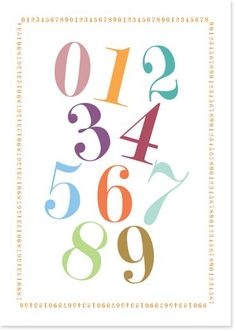 Free printable numbers poster, which match my alphabet poster :) Download it at http://www.lonnies.dk/2014/printable-tal-plakat/