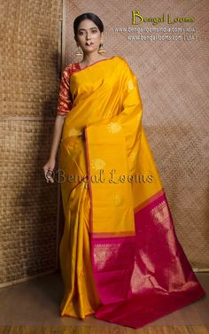 Pure Handloom Kanjivaram Saree in Turmeric Yellow and Rani Bengali Saree, Indian Silk Sarees, Pure Silk Sarees, Indian Beauty Saree, Phulkari Saree, Silk Saree Kanchipuram, Kanjivaram Sarees, Yellow Saree Silk, Velvet Saree