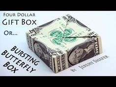[Simple] How to fold a gift box from 4 dollars that you can put things in and then explode them like confetti by flicking the box into the air with your fing. Origami Cards, Paper Crafts Origami, Origami Boxes, Paper Crafting, Origami Ball, Origami Folding, Folding Money, Paper Folding, Origami Money Flowers