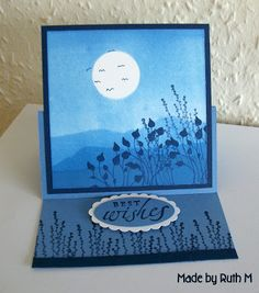 Stampin' Up! ...handmade card from Flower Sparkle: Blue Brayered Best Wishes Easel Card ... monochromatice ... moonlit scene ... torn paper mats for landscape brayering ... great card!