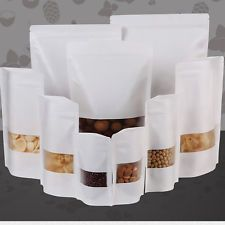 Kraft Paper White Zip Lock Stand Up Pouches Bags Reclosable Food Grade Packaging