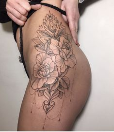 Hip piece tattoo design ideas 11 - We Otomotive Info Thigh Piece Tattoos, Flower Hip Tattoos, Side Hip Tattoos, Floral Thigh Tattoos, Leg Tattoos Women, Pieces Tattoo, Baby Tattoos, Body Art Tattoos, Tattoos For Guys