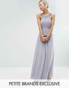 Little Mistress Petite Pleated Maxi Dress With Embellished Neck