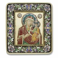 russian silver and enamel icon of the mother of god hodigitria, ovchinnikov, moscow, circa 1890