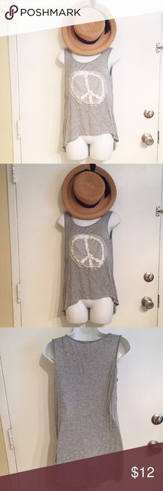 🦄5 for $25🦄 Boho Lace Peace Sign Tank Grey high low tank with white lace Peace sign. Size small. #grey #highlow #tank #peace #peacesign #comfy #casual #cute #trendy #boho #hippie #small #punkydoodle  No modeling  Smoke free home I do discount bundles Tops Tank Tops