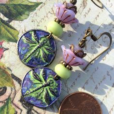 Oh, look at these beauties! Dragonfly love. ArtisanMade, Patina Painted. You need these. Picasso Glass Flowers, floral brass bead-caps. Garden Glam. Nature Inspired.