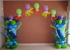 Under The Sea Balloon Arch Pool Party Decorations, Fiesta Decorations, Balloon Decorations, Balloon Columns, Balloon Wall, Balloon Arch, Underwater Birthday, Underwater Party, Deco Ballon