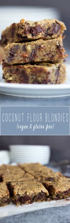 Coconut Flour Chocolate Chunk Blondies (vegan & gluten free) from www.sprinkleofgreen.com
