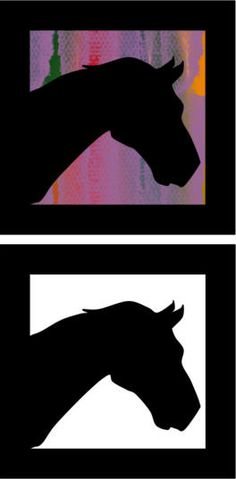 Horse Head Silhouette or Stained Glass Paper Craft - 2014 year of the horse