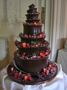 Chocolate Helter Skelter wedding cake.: