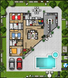 Arrange Your Furniture Virtually Before You Move the Couch Floor Plan App, Floor Planner, Triangle House, Silo House, House Front Design, Small House Plans, House Layouts, Minimalist Interior, Pool Houses