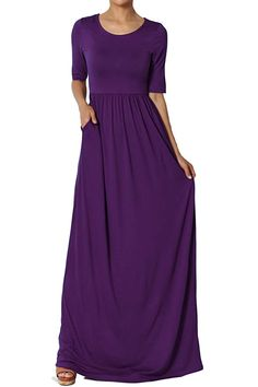 3c9256376 TheMogan Women's Half Sleeve Shirred Viscose Jersey Long Maxi Dress Dark  Plum M at Amazon Women's Clothing store: