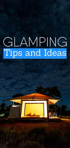 Why go camping when you can go glamping! Here are some tips and tricks to help you get your glamp on! Camping In The Rain, Camping And Hiking, Camping Survival, Camping List, Camping Places, Camping Ideas, Camping Glamping, Outdoor Camping, Camping Outdoors