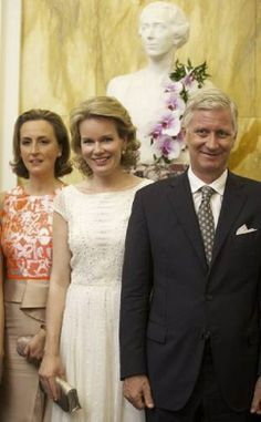 Belgians Princess Claire, Queen Mathilde and King Philippe after the final concert of the Queen Elisabeth Singing Competition 2014 at the Brussels' Flagey hall, on June 10th, in Brussels.