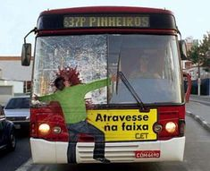 wow. when i was 14 years old a woman jumped in front of our school bus. this is pretty much what it looked like. this ad really triggered me.  Pedestrian safety ad in Brazil