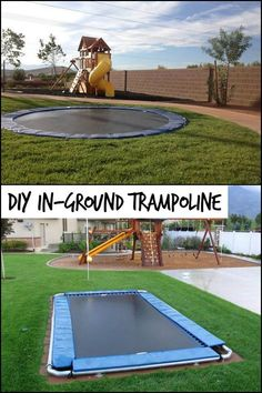 Want a trampoline in your garden without it being too conspicuous? - Want a trampoline in your garden without it being too conspicuous? Best Trampoline, Backyard Trampoline, Backyard Playground, Backyard For Kids, Backyard Patio, Backyard Landscaping, Trampoline Ideas, Sunken Trampoline, Kids Swingset Ideas