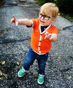 This is Kovi! Gertie & Bertie Kids short sleeve cardigan, H and M skinny jeans and Vans.