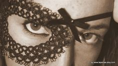 A Night in Venice - black tatted lace half mask