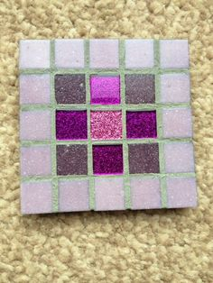 Handmade purple & pink mosaic coaster (READY TO POST)  £4.99 GBP Only 1 available Overview:  * Handmade item * Materials: Glass tiles, glitter tiles, plywood, foam backing, grout