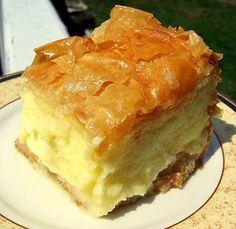 Galaktoboureko (γαλακτομπούρεκο) - KALOFAGAS _ Galaktoboureko is as popular (if not more) than a Greek baklava. Essentially, it's a dessert of custard made from semolina flour & a crispy phyllo shell & soaked in a lemon syrup Greek Sweets, Greek Desserts, Pudding Desserts, Greek Recipes, Fun Desserts, Delicious Desserts, Dessert Recipes, Yummy Food, Mexican Desserts
