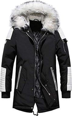 Hajotrawa Mens Removable Hooded Outerwear Dwon Coat Thick Parkas Jacket
