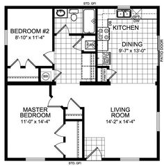 Master Bedroom House Plans floor plan for a small house 1,150 sf with 3 bedrooms and 2 baths