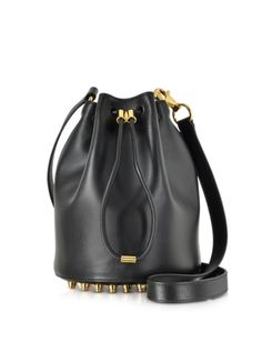 Alexander Wang Alpha Soft Black Shiny Leather Bucket Bag