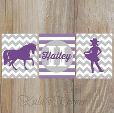 cowgirl nursery horse nursery, purple gray nursery art by KalasKorner, $27.00