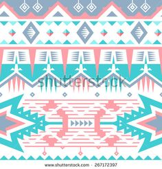 Vector Seamless Tribal Pattern for Textile Design. Ethnic Ornament with Triangles, Stars, Rhombus and Stripes