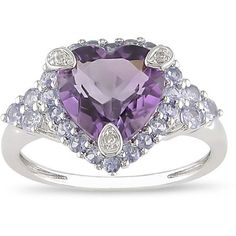 Miadora 10k Gold Amethyst and Tanzanite Ring ($220) ❤ liked on Polyvore featuring jewelry, rings, blue, heart shaped amethyst ring, wide band rings, yellow gold amethyst ring, cocktail ring and tanzanite rings
