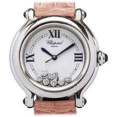 Preowned Chopard Lady's Stainless Steel Happy Sport Wristwatch ($2,800) ❤ liked on Polyvore featuring jewelry, watches, multiple, leather strap watches, preowned watches, stainless steel watches, buckle jewelry and stainless steel wrist watch