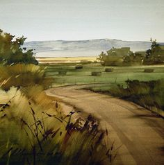 "Through the Fields door Joseph Alleman Watercolor ~ 11 ""x – Blumenmädchen Watercolor Artists, Watercolor Landscape, Watercolor And Ink, Watercolour Painting, Landscape Art, Painting & Drawing, Landscape Paintings, Watercolors, 7 Arts"