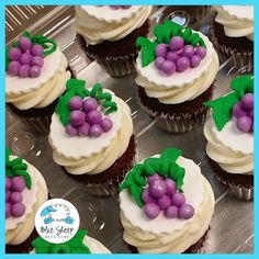 grape wine themed bridal shower cupcakes , www.bluesheepbakeshop.com Custom cakes in NJ! 732.667.7557