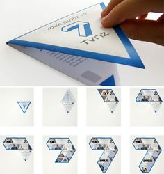 Using a creative fold and die cut, this brochure engages viewers in a more interactive way than many other brochures. Added bonus: Once the brochure is completely unfolded, it forms a replica of the company's logo.