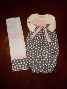 Baby Monogrammed Gown by SewSweetTs on Etsy, $25.00