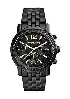Michael Kors MK5984 Baisley Crystal Bezel Black IP Stainless Steel Bracelet Black Dial Chronograph Watch