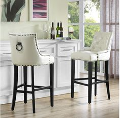TOV Furniture Uptown Diamond Tufted Cream Leather Bar Stool w/ Ring Back Leather Counter Stools, Kitchen Counter Stools, Counter Chair, Kitchen Chairs, Bar Furniture, Modern Furniture, Affordable Furniture, Furniture Design, European Furniture