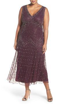 d75c24e087c Main Image - Pisarro Nights  Chevron Motif  Sleeveless Embellished Midi  Dress (Plus Size