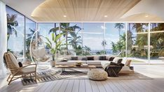 Tropical Villa In Thailand Based On An Ancient System Of Architecture — Home Designing Villa Design, Wooden Accent Wall, Blue Tiles, Bedroom With Ensuite, Architectural Features, Staircase Design, Poufs, Luxury Villa, Decoration