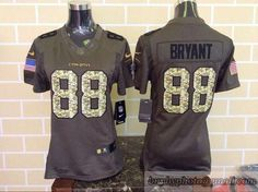 Women NFL Dallas Cowboys #88 Dez Bryant Green Salute To Service Limited Jersey